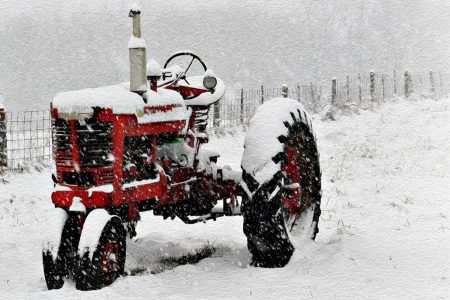 Tractor Winter Oil Painting Vf