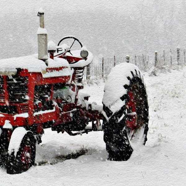 Tractor Winter Oil Painting Vf 1024X731